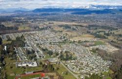 Aerial view from high above the City of Stanwood