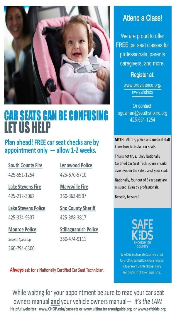 2018 Car Seat Check and Class Flyer